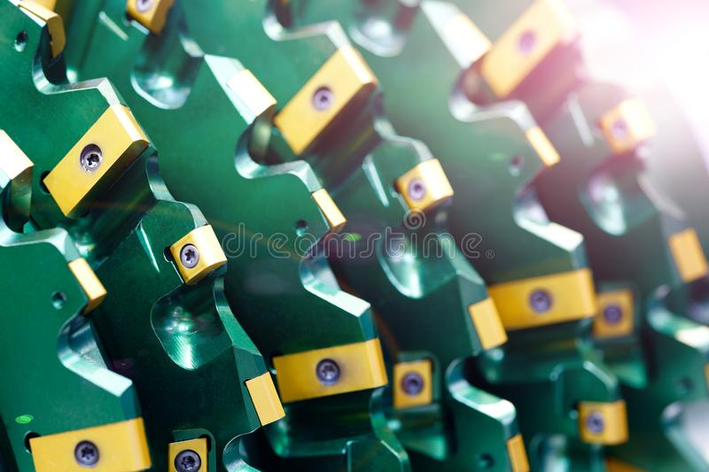 Close up view on brand new drill bit roller cutter for drilling machines and equipment for oil and gas industry. Modern drill bits royalty free stock photos
