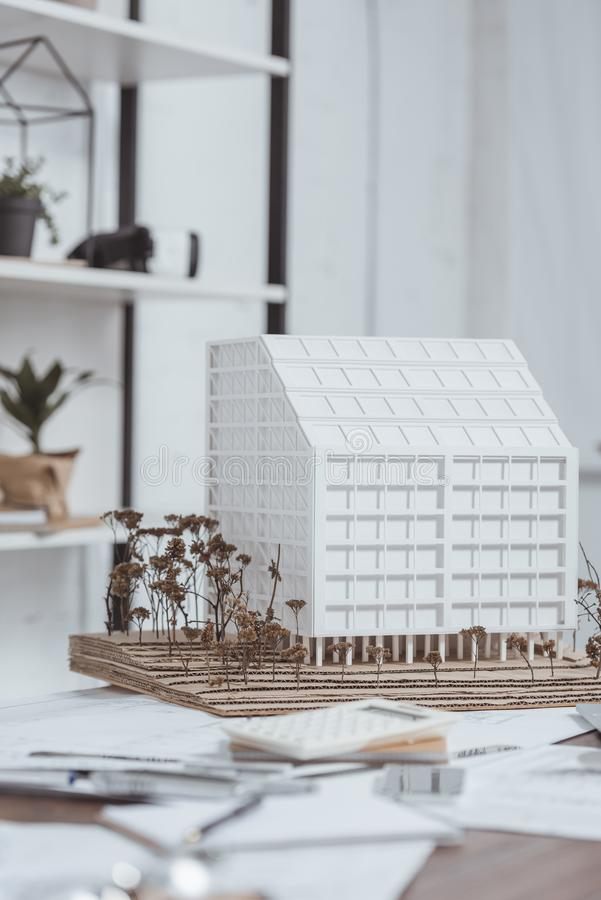 close up view of building model at workplace stock photos