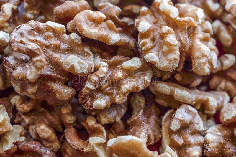 Close up view of a bunch of walnuts stock image