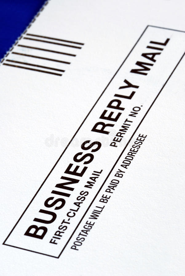 Close-up view of a Business Reply Mail