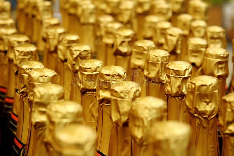 Close up view of Champagne bottle stock photos