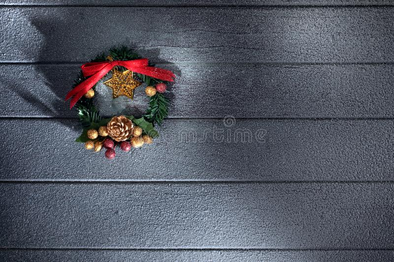 View of christmas and new year wreath on wooden back royalty free stock photos