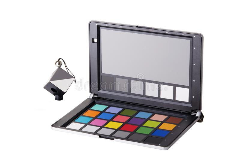 Close up view of color checker equipment of professional photographer royalty free stock photography