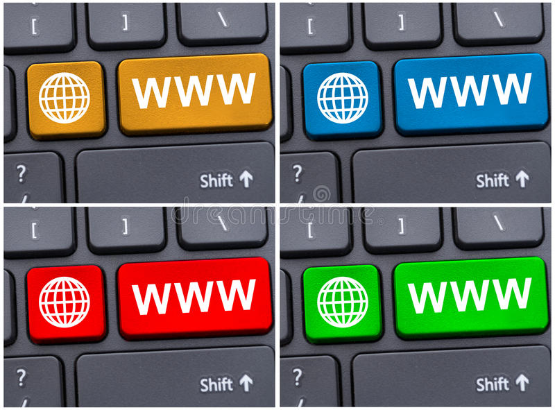 Close-up view of colored internet keys royalty free stock photos