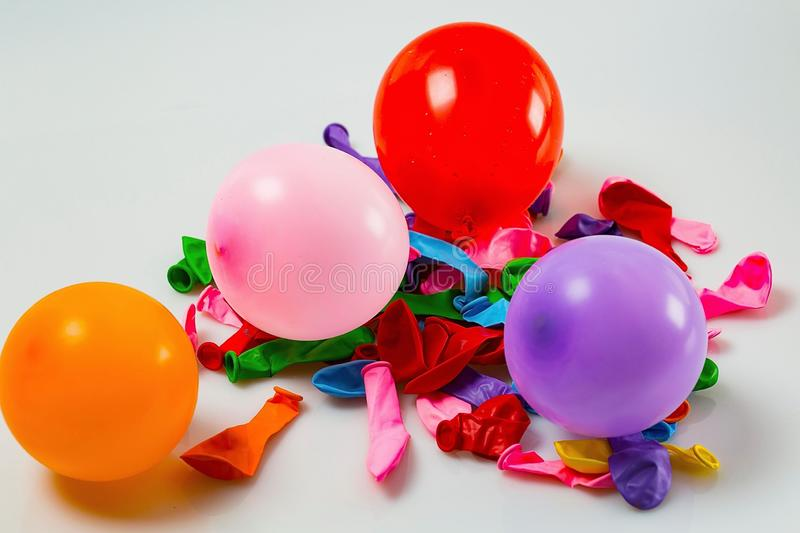 Close up view of colorful balloons isolated. Beautiful party / holiday/ celebration / birthday backgrounds stock photos