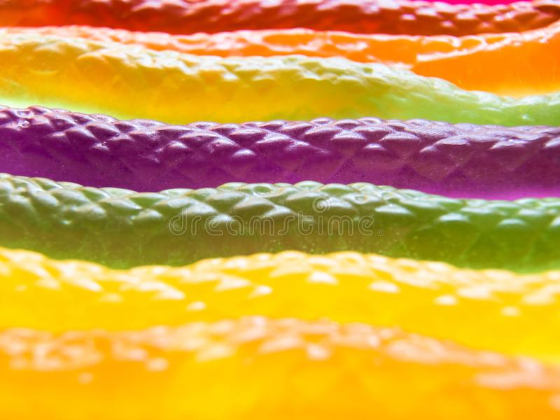 Close-up view of colorful snake shaped jelly candies royalty free stock images
