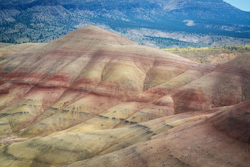 Close up view of the colorful striations of different time periods at Painted Hills in Oregon royalty free stock images