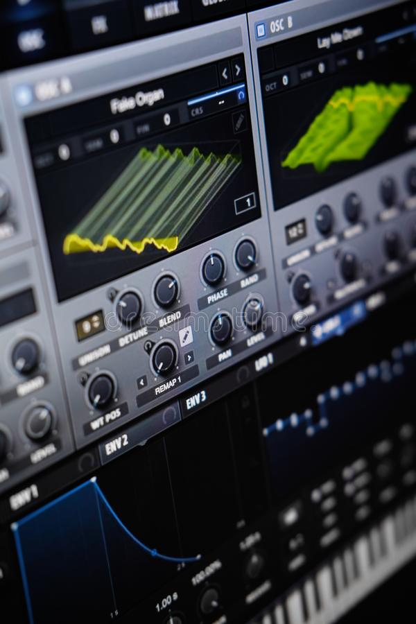 Free Close Up View Computer Monitor Digital Audio Workstationor DAW Music Production App Stock Images - 166627674