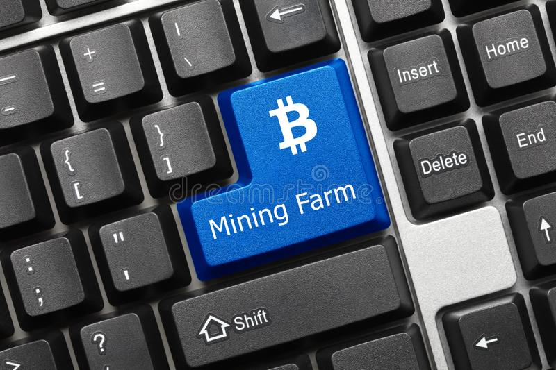 Conceptual keyboard - Mining Farm blue key with Bitcoin symbol. Close-up view on conceptual keyboard - Mining Farm blue key with Bitcoin symbol stock photos