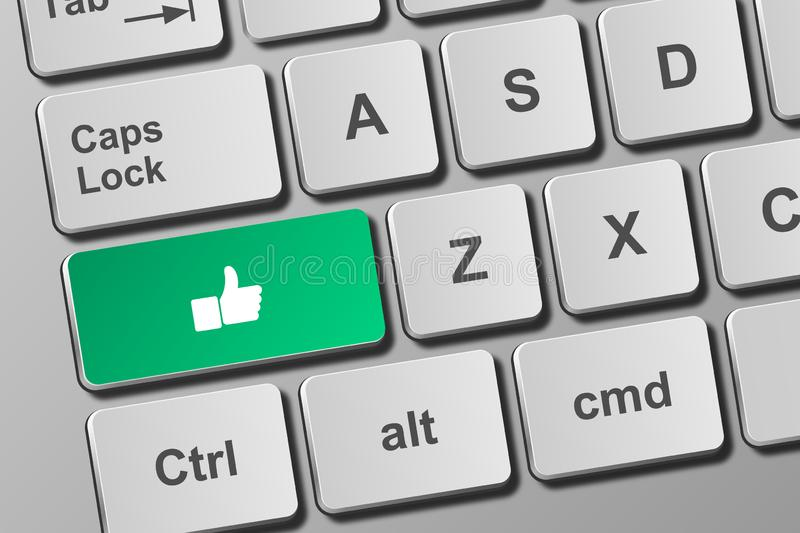 Keyboard with thumb button. Close-up view on conceptual keyboard with thumb button stock illustration