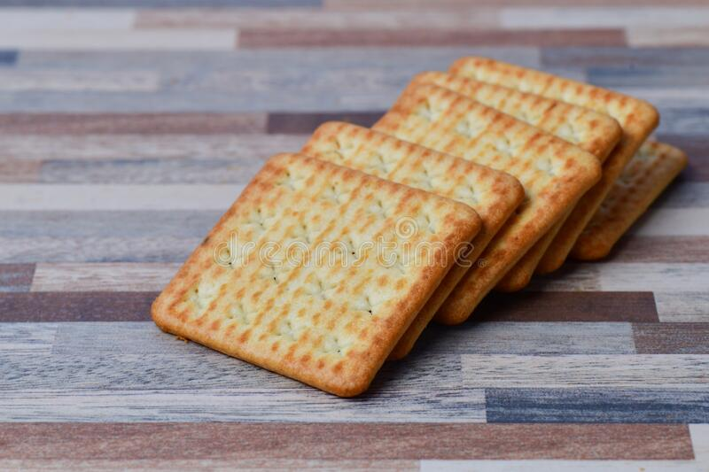 Close up view of Crackers on table stock image