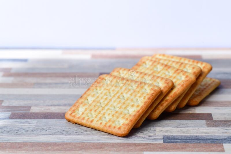 Close up view of Crackers on table royalty free stock photos