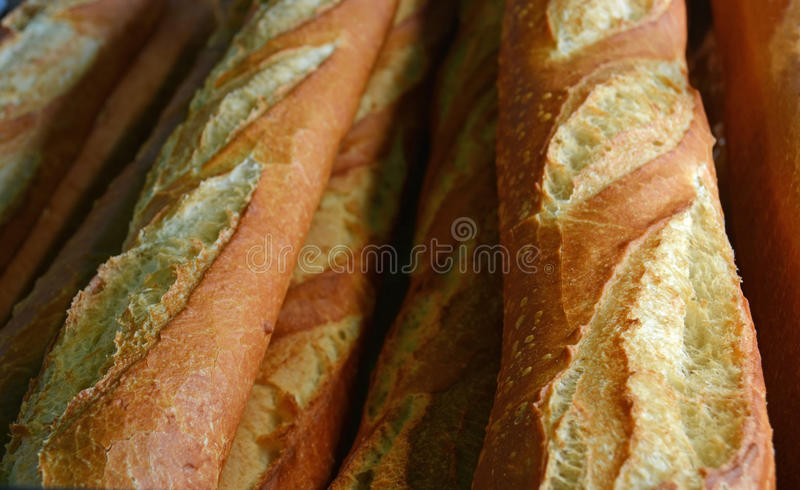 Close-up View of Crisp Fresh Baked French Bread. stock photo