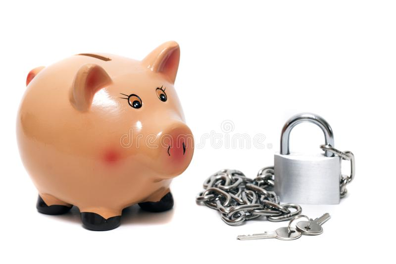 Cute piggy bank with lock stock photography