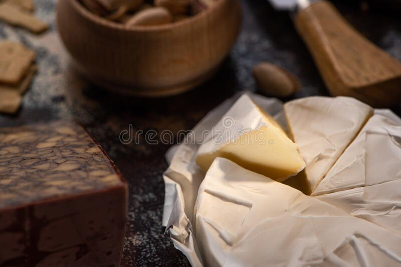 Close up view of delicious cut brie cheese royalty free stock image