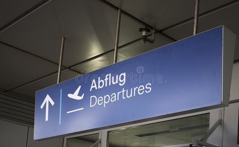 Close up view of Departures sign. At airport royalty free stock images