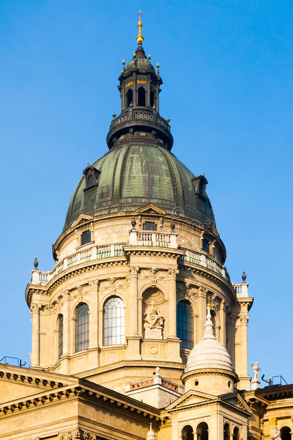 Close-up view of dome of St. Stephen`s Basilica in Budapest, Hungary stock photo