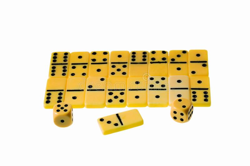 Close up view of domino chips and dice isolated on white background with clipping path. Gaming background stock images