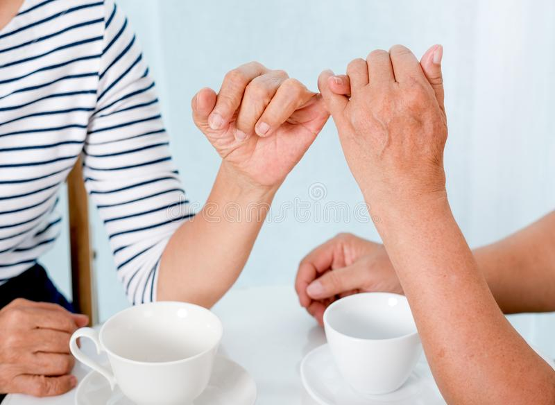 Close up view of elderly woman hook each others little finger to the other with smiling in front of balcony in the house.  stock image