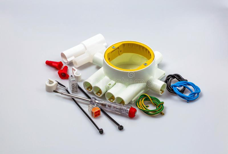 Close up view of electrical supplies isolated. Beautiful colorful backgrounds royalty free stock photography