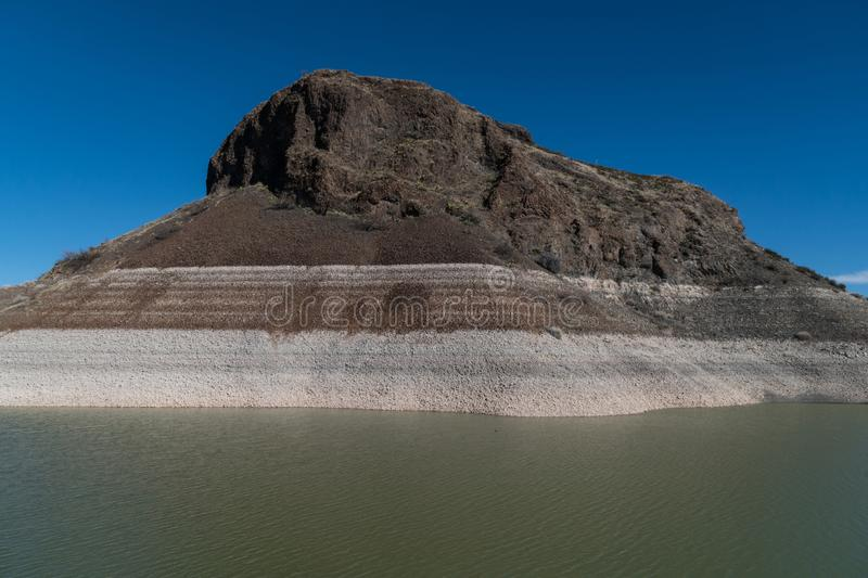 Close up view of Elephant Butte, New Mexico. Elephant Butte Lake state park dam, New Mexico. A view of the Butte close up stock photo