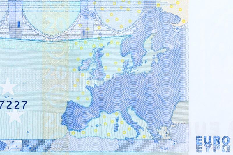 Close up view from 20 euro bill, macro shot from 20 euro bill. stock photo