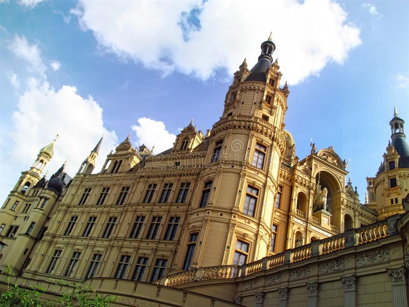 Close-up view on the facade of the Schwerin palace in Germany stock image