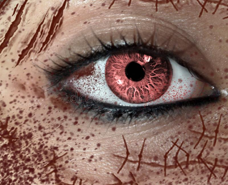 Close-up view of female`s horror eye with many scars on the face royalty free stock photo