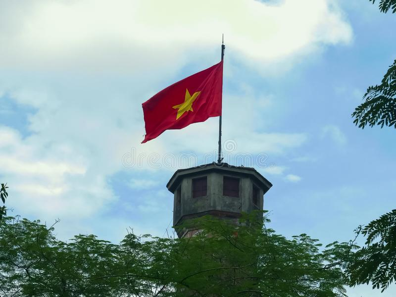 Close up of the flag tower in hanoi, vietnam stock image