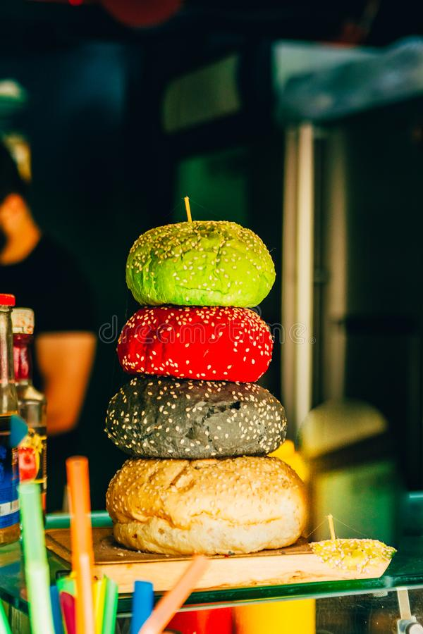 Colored buns for burgers stock photos