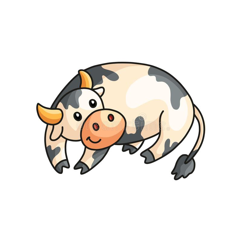 Close up view of funny smiling calm spotted cow having rest isolated on white stock illustration