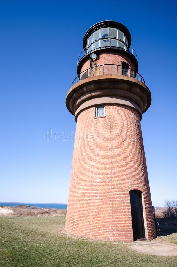 Close up view of Gay Head Lighthouse on Marthas Vineyard on Cape Cod.  royalty free stock photography