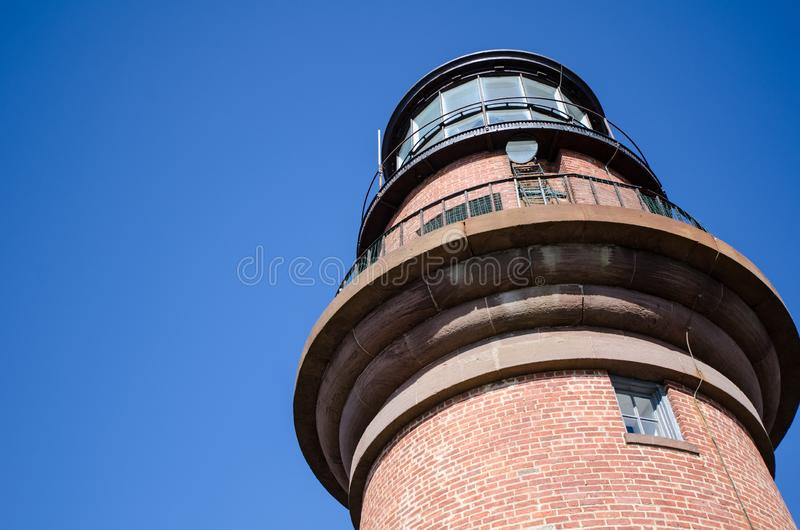 Close up view of Gay Head Lighthouse on Marthas Vineyard on Cape Cod.  royalty free stock images