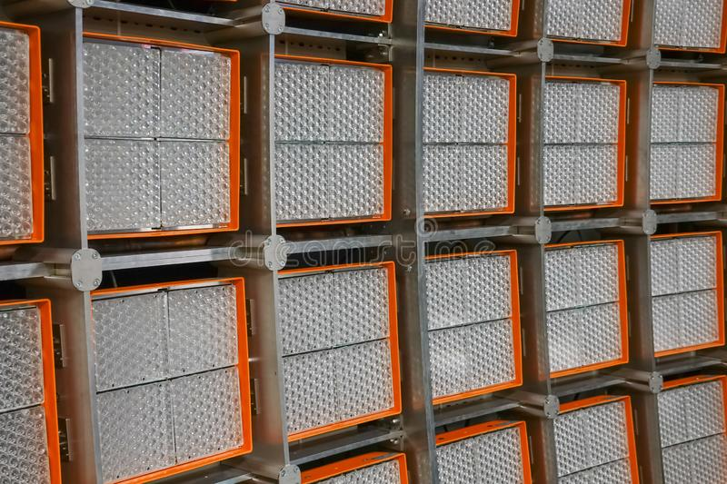 Close-up view of a giant LED wall for testing solar power systems in a large laboratory royalty free stock image