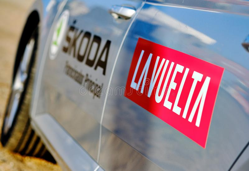 Close up view on the grey car La Vuelta red sign, international competition popular event one of the leading cycling races. Torrevieja, Spain - August 24, 2019 royalty free stock image