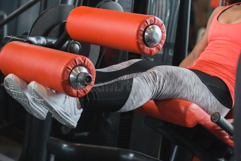 Close up view gym seated leg curl. Machine exercise woman at indoor stock images