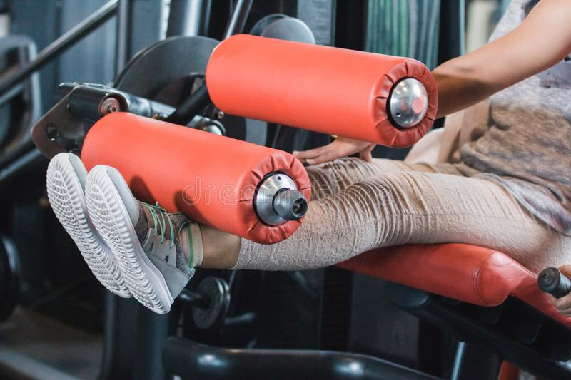 Close up view gym seated leg curl. Machine exercise woman at indoor stock image
