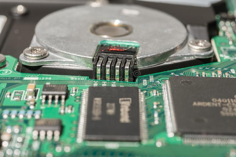 Close-up view of 3.5` hard disk stock image