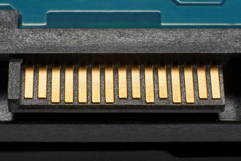 Close up view of hard disk computer. stock photo