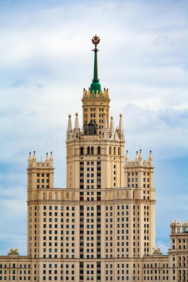 The high-rise building on Kotelnicheskaya Embankment in Moscow against a overcast sky Russia stock photography