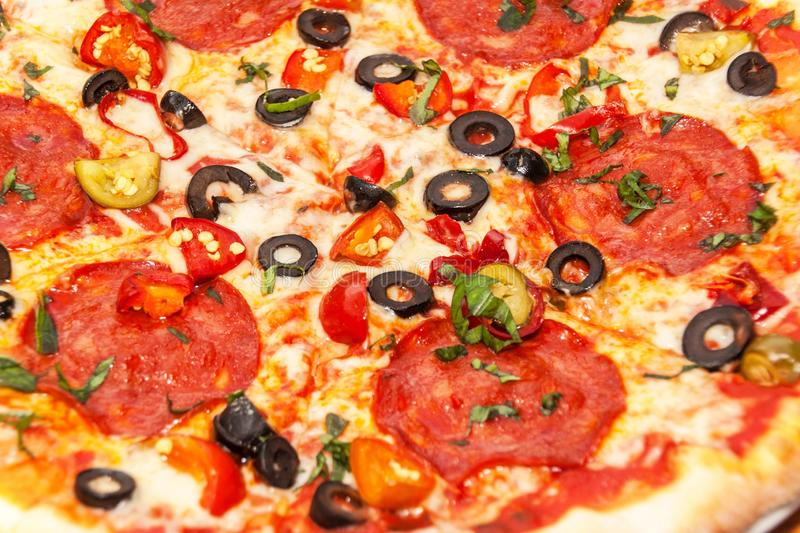 Close-up view of homemade pizza. Ingredients for pizza. Home preparation of fast food stock photo
