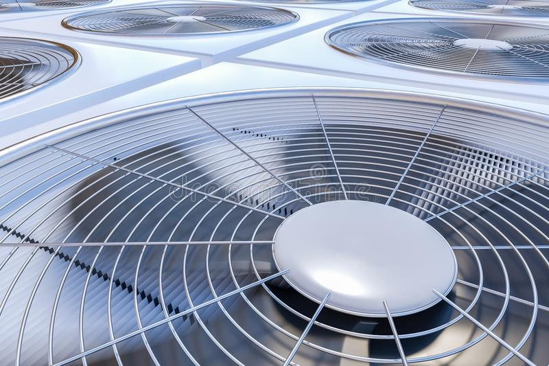 Close up view on HVAC units heating, ventilation and air conditioning. 3D rendered illustration.  vector illustration