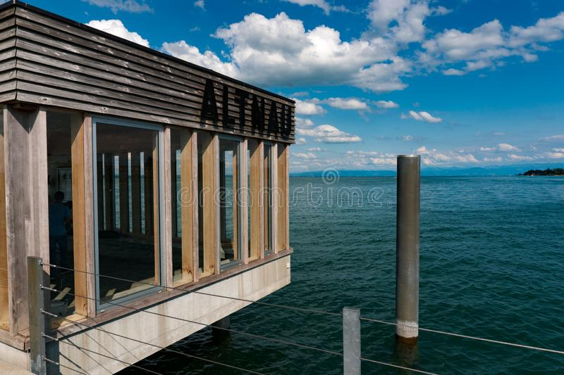 Close up view of the jetty house at the end of the Altnau pier on Lake Constance. Altnau, TG / Switzerland - 14. July 2019: close up view of the jetty house at stock photo