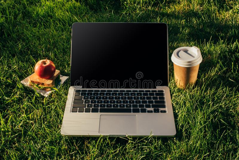 Close up view of laptop, coffee to go and sandwich with apple. On green lawn royalty free stock images