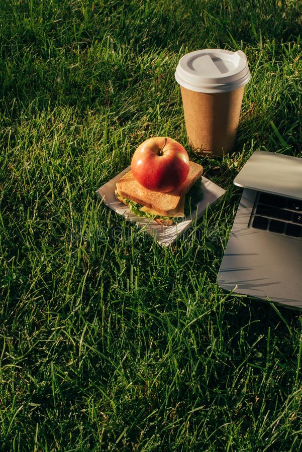 Close up view of laptop, coffee to go and sandwich with apple. On green lawn stock photography