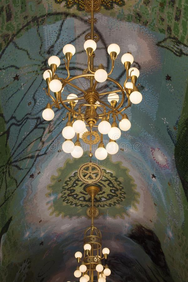 Close up view of lights and ceiling of a historical passage royalty free stock image