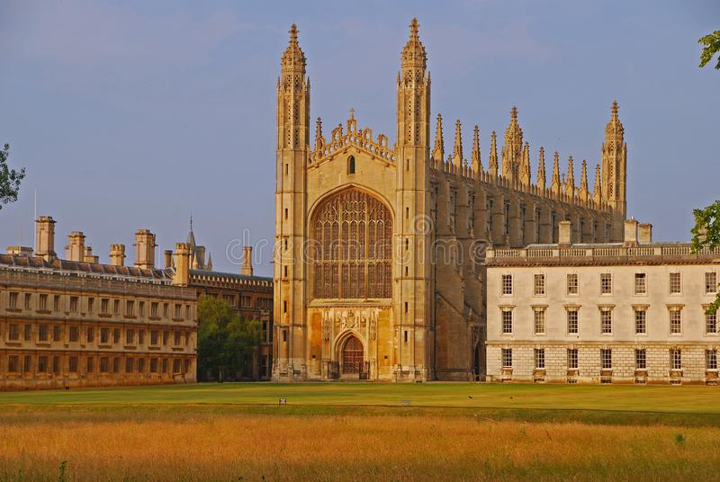 The close up view of the majestic King`s College Chapel & Gibbs` building from across the field and River Cam from The backs. The chapel is considered one of the royalty free stock image