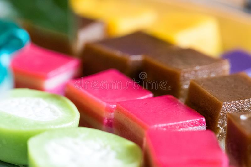 Colorful Malaysian sweet cuisine royalty free stock image