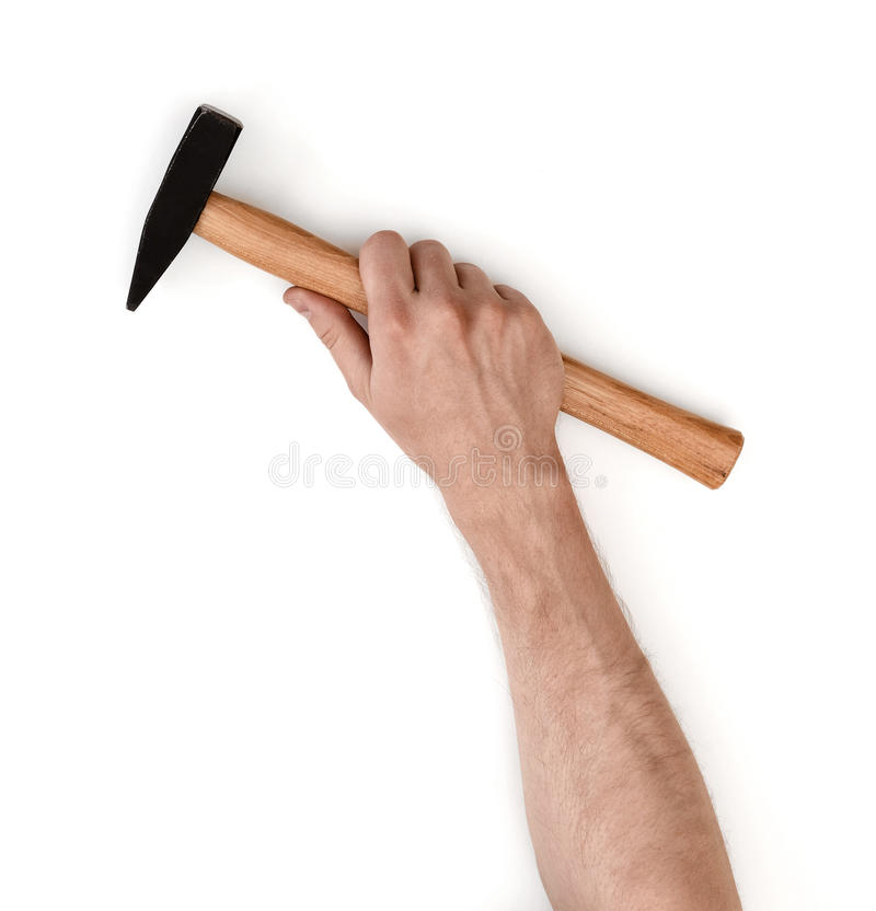 Close-up view of a man's hand holding hammer, isolated on white background royalty free stock photo