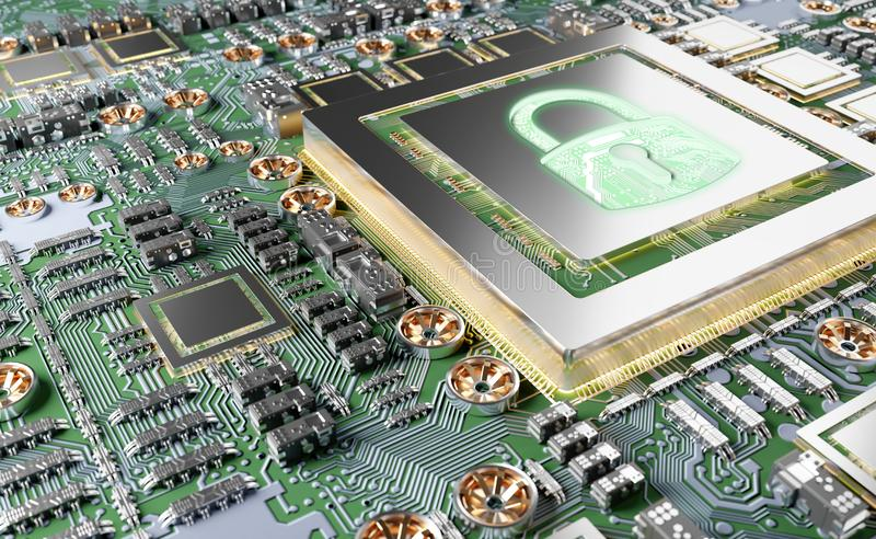 Close-up view of a modern GPU card with padlock protection 3D rendering. Close-up view of a modern GPU card circuit with cyber security activated 3D rendering royalty free illustration